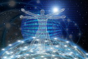 Vitruvian man over the world with computer code